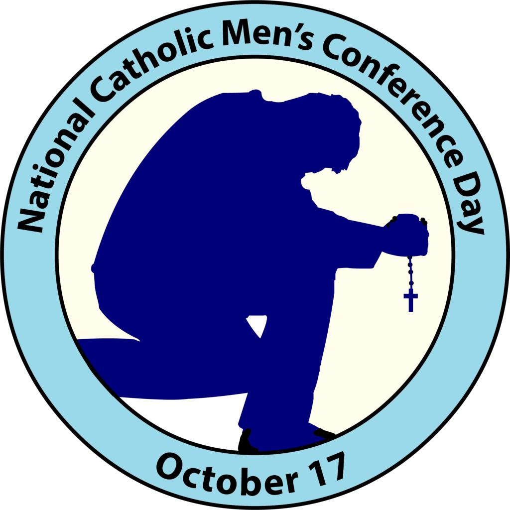 National Catholic Men's Conference Day Logo of man kneeling and praying the Rosary